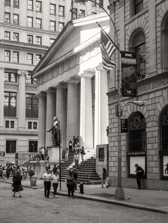 old street: The Federal Hall on Wall Street at the Financial District in New York City