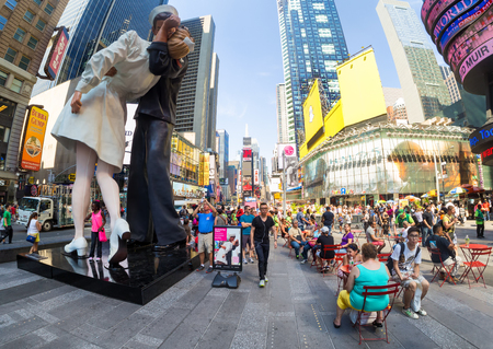 time's: Tourists at Times Square in New York City Editorial