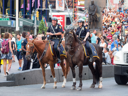 mounted: Mounted police at Times Square in New York City