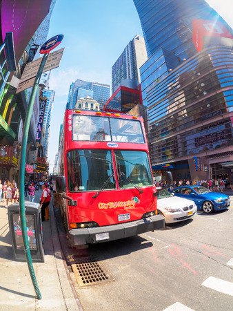 decker: City sightseeing double decker bus at 42nd street in New York City Editorial