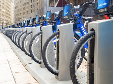 Bicycles for rent as part of the Citibike program in New York City