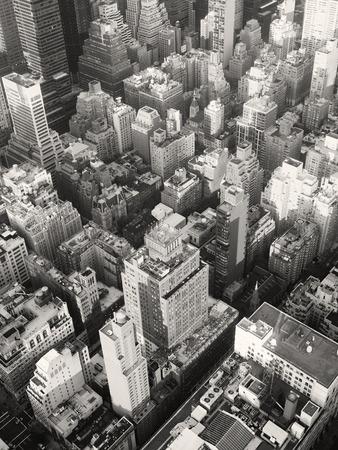 Black and white urban landscape of midtown Manhattan in New York City