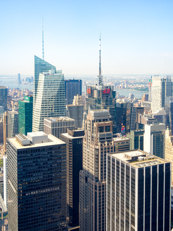 conde: Skyscrapers in New York City including the Conde Nast building and the Bank of America tower