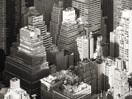 apartment tower old town: Black and white aerial view of the urban landscape of New York City Stock Photo