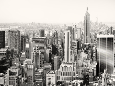 Black and white view of skyscrapers in New York City