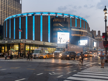 The Madison Square Garden in New York City at night