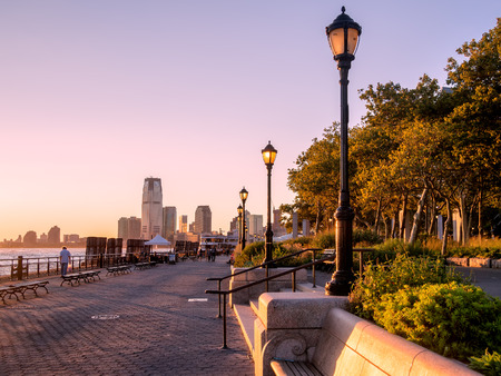 Sunset at Battery Park in New York City Archivio Fotografico