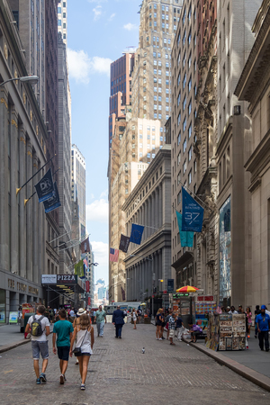 districts: Wall Street at Manhattans Financial District in New York City