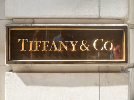 ny: Metallic plaque at the entrance of Tiffany jewelry store in New York City Editorial