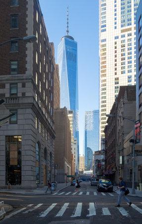 manhattans: Street scene at  Manhattans Financial District in New York City