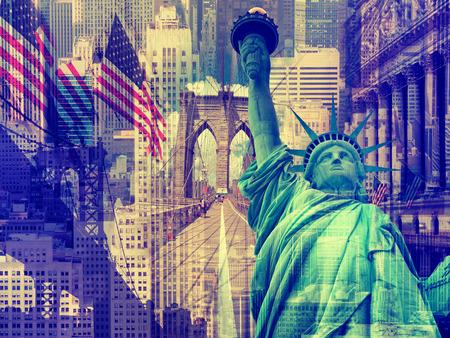 뉴욕시, 미국 - 여러 뉴욕의 랜드 마크를 포함 장식 콜라주 스톡 콘텐츠