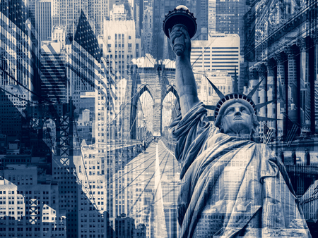 united states: New York City, United States of America - Decorative collage containing several New York landmarks