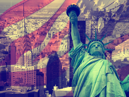 usa flags: New York City, United States of America - Collage containing several New York landmarks and symbols Stock Photo