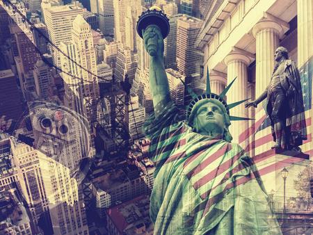 New York City, United States of America - Collage containing several New York landmarks and symbols 版權商用圖片