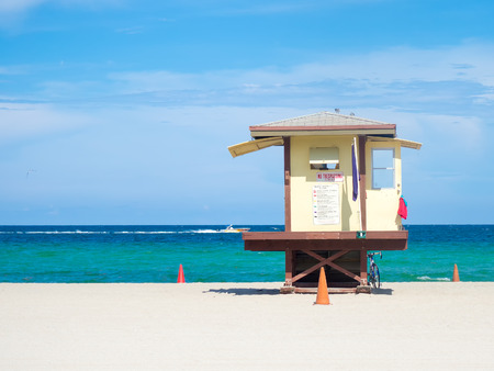 fort lauderdale: Lifesaver hut  at Fort Lauderdale beach in Florida on a summer day