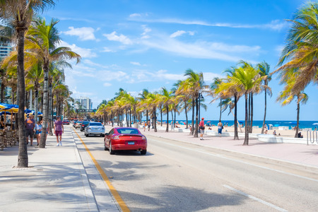 beach scene: View of the beach at Fort Lauderdale in Florida on a summer day