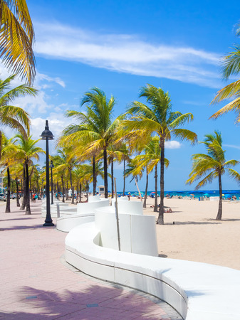 sidewalk: The beach at Fort Lauderdale in Florida on a beautiful sumer day
