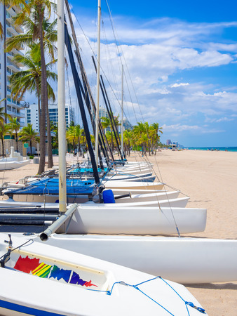 fort lauderdale: Sailboats for rent at Fort Lauderdale beach in Florida on a beautiful summer day