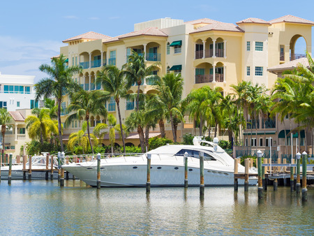 waterfront: Yacht and luxurious waterfront home at Fort Lauderdale in Florida