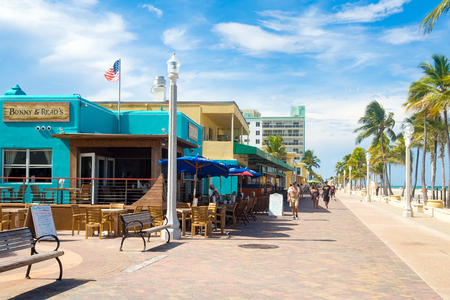 promenade: The famous Hollywood Beach boardwalk in Florida on a summer day Editorial