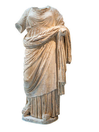archaeology: Ancient greek headless statue of a woman dressed with typical clothes isolated on white Stock Photo