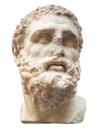 ancient civilization: Ancient marble head of Hercules isolated on white