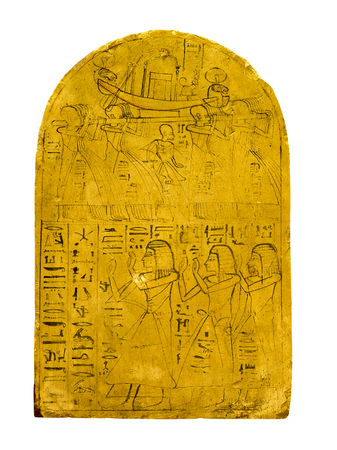 hieroglyphs: Ancient egyptian tablet with hieroglyphs , human figures and a boat Stock Photo
