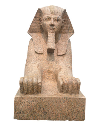 antiquities: Ancient egyptian sphinx sculpted in red granite stone - Isolated on white