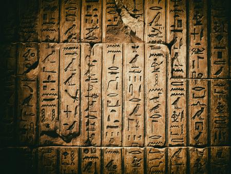 Esposto antico geroglifico egiziano scolpito in pietra arenaria