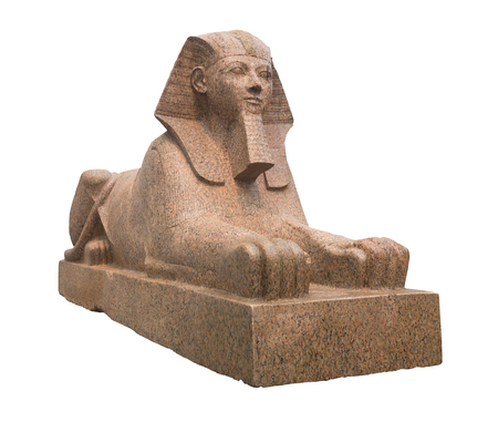 sculpted: Ancient egyptian sphinx sculpted in red granite stone - Isolated on white