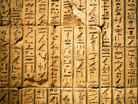 Ancient egyptian hieroglyph carved in sandstone