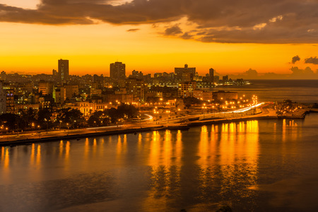 nighttime: Sunset in Havana with a view of the bay and the city skyline Stock Photo