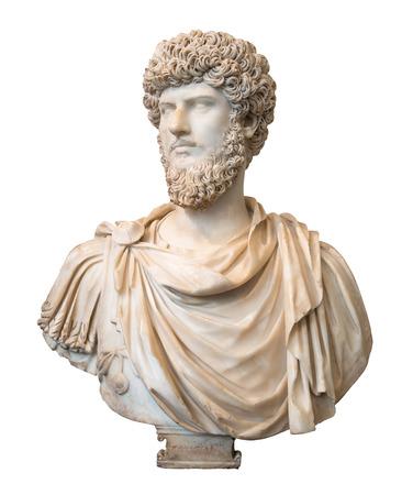 Busto del emperador romano Lucius Verus aislado en blanco con trazado de recorte Foto de archivo
