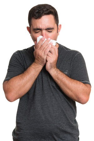 hayfever: Portrait of a sick man coughing with the flu, allergy, germs,cold isolated on white background Stock Photo