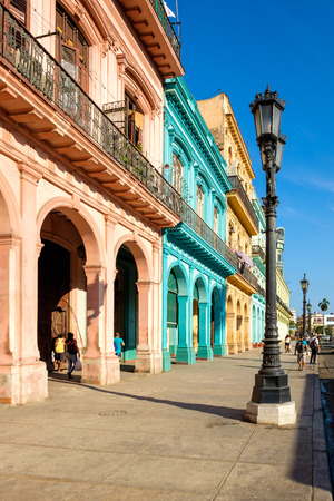 Street scene with colorful buildings in downtown Havana right in front of the Capitol