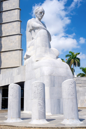 national poet: The Jose Marti memorial monument at the Revolution Square in Havana with palm trees on the background