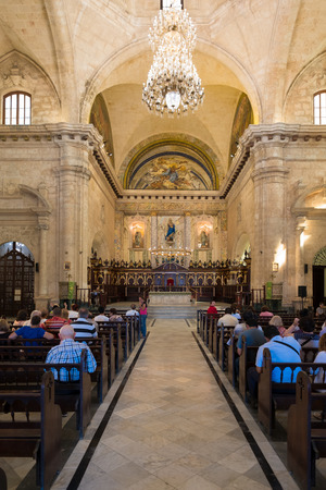 liturgical: Church goers  attending mass at the Cathedral of Havana in Cuba