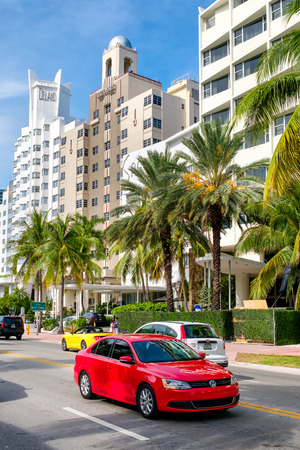Famous hotels at Collins Avenue in Miami Beach
