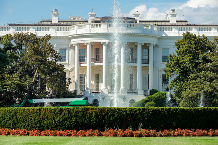 The White House, home of the US President, in Washington D.C. 版權商用圖片