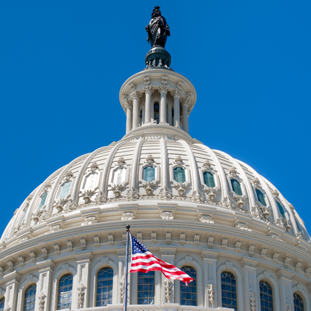 legislative: Dome of the Us Capitol at Washington DC with a United States Flag Stock Photo