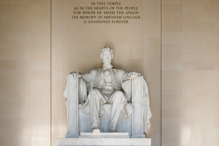 lincoln: The Abraham Lincoln Statue at the Lincoln Memorial in Washington D.C. Editorial