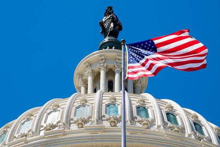 워싱턴 DC에서 국회 의사당 돔 앞에서 흔들며 미국 국기 스톡 콘텐츠