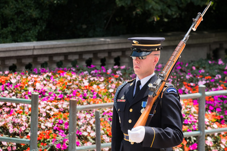 Ceremonial guard at the Tomb of the Unknown Soldier at Arlington National Cemetery Editorial