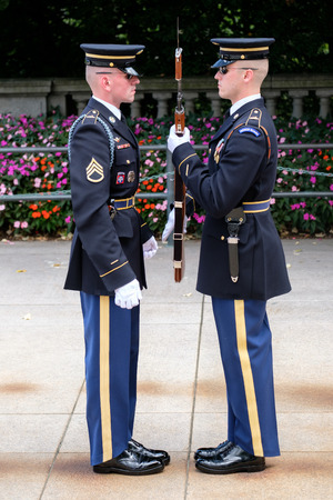 Changing of the guard at the Tomb of the Unknown Soldier at Arlington National Cemetery Editorial