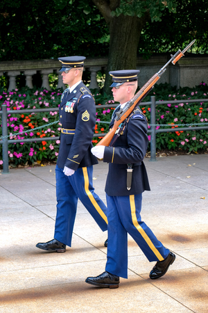 honour: Changing of the guard at the Tomb of the Unknown Soldier at Arlington National Cemetery Editorial