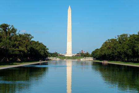 The Washington Monument and the Reflecting Pool at the National Mall in Washington D.C.