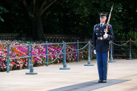 tomb unknown soldier: Ceremonial guard at the Tomb of the Unknown Soldier at Arlington National Cemetery Editorial