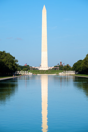 lincoln memorial: The Washington Monument  reflected on the Lincoln Memorial reflecting Pool in Washington D.C.
