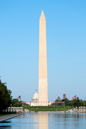 The Washington Monument  reflected on the Lincoln Memorial reflecting Pool in Washington D.C.