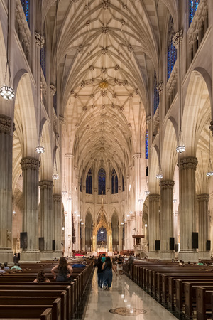 fifth avenue: Interior of Saint Patricks Cathedral in New York City Editorial